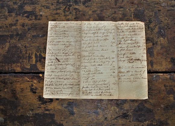 Circa 1800 - List of Goods for Elisha Brown Probate for Auction by Widow