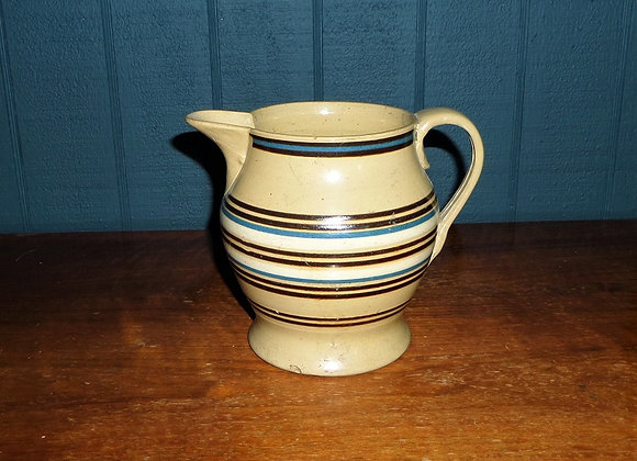 Mid 19th Century Multi Banded Yellowware Pitcher Attributed to T.G. Green
