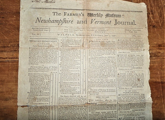 1798 The Farmer's Weekly Museum: NH and Vermont Journal - Isaiah Thomas