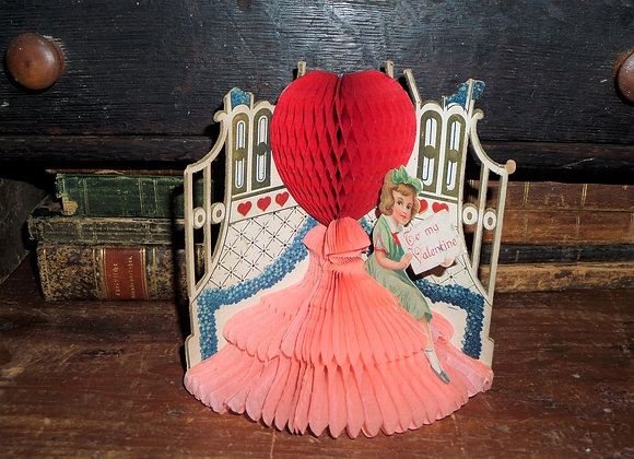 1930's Valentine Honeycomb Heart and Base with Little Girl