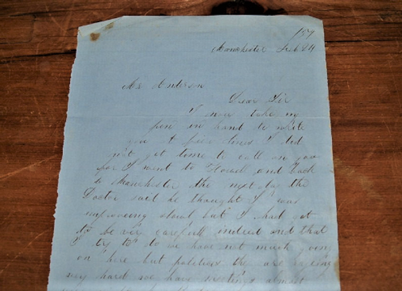 1859 Letter on General Butler's Speech in Manchester, New Hampshire