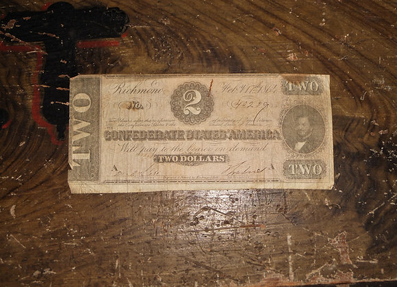 1864 Confederate States Two Dollar Bill Printed in Richmond - Not a Facsimile