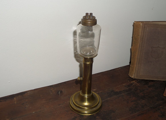 Early 19th Century Glass Peg Lamp with Brass Candlestick Base