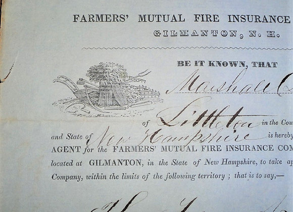 1854 Farmer's Fire Insurance Agent's Certificate of Employment - Massachusetts
