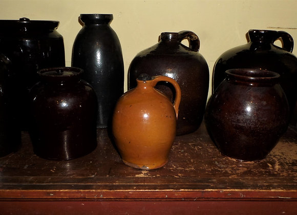 18th Century New England Small Orange Glaze Liquor Jug