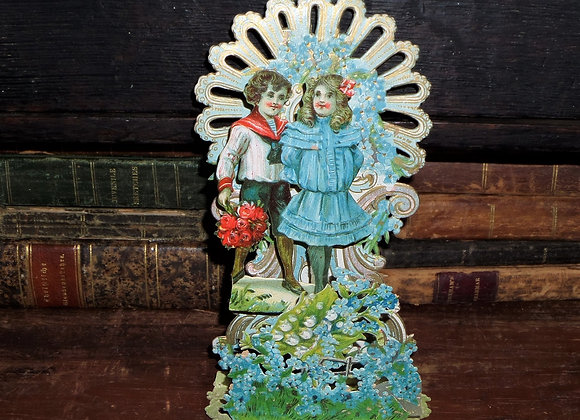 1920's Fold Out Forget-Me-Not Flowers with Children Valentine