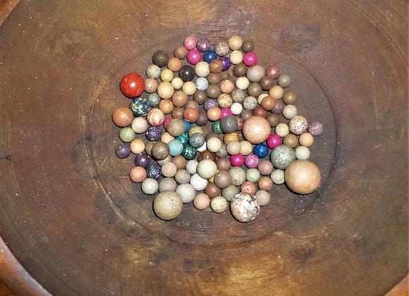 Sets of Antique Primitive Clay Marbles