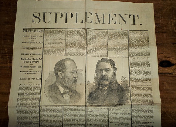 1881 Garfield Assassination - Newspaper Special Supplement