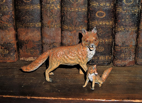 Rare Antique German Lead Fox and Kid