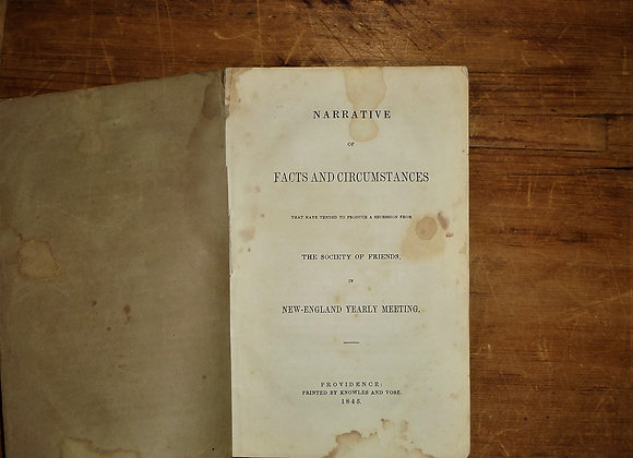 1845 Narrative of Facts & Circumstances - Secession from the Society of Friends