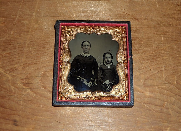 Ambrotype - Civil War Era Mother and Daughter in Mourning