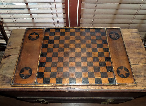 19th Century Double-Sided Tan & Black Checkerboard