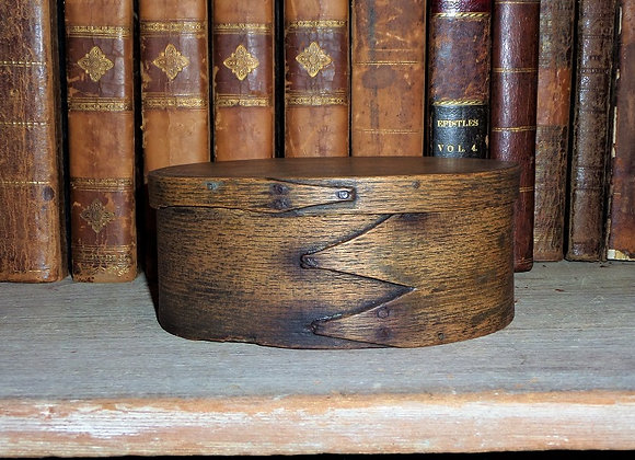Late 18th Century Oval Pantry Box with Rosehead Nail Construction