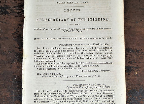1860 Utah Indian Services Appropriations Request to Congress