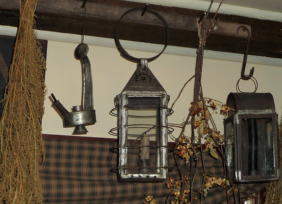 18th Century Tin Glass and Wire Lantern