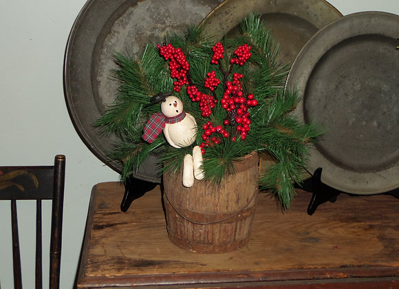 Frosty the Snowman in an Antique Paint Bucket