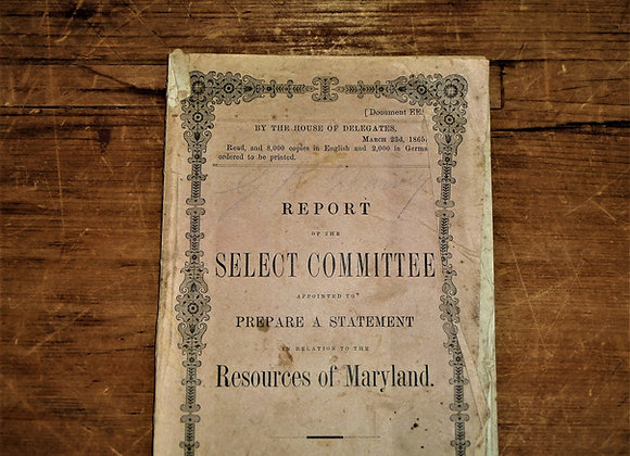1865 Resources of Maryland Pamphlet Concerning the 'Influx of Freed Slaves' to t