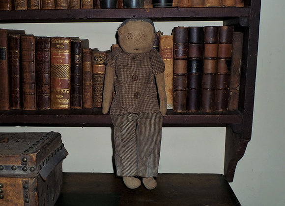 Primitive Handmade Cloth Boy Doll Dressed in His Best Clothes- Susie Grant Dol
