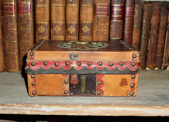 Circa 1800 Small Highly Decorated Leather Document Box
