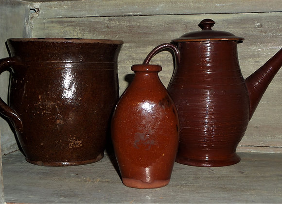 Redware Liquor Flask - Small Flask from Revolutionary War Era