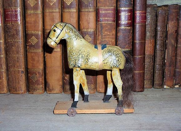 Antique German Putz Horse Pull Toy
