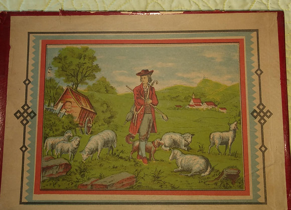 Antique Fourteen Putz Sheep Set Complete with Box and Accessories