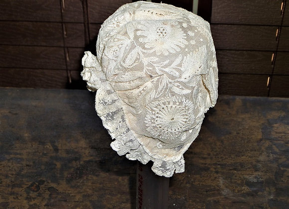 19th Century Hand Sewn and Embroidered Newborn's Cap