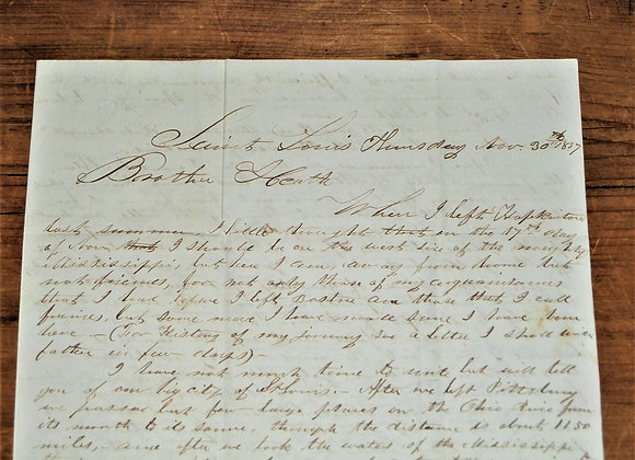 1837 Letter About the City of St Louis, Missouri