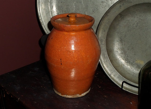 Early 1800's Vase-Shaped Redware Jar with Hand Thrown Lid