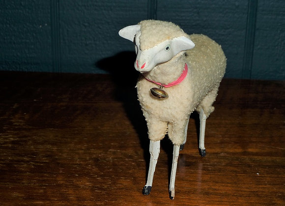 "Antique 5"" Putz Sheep with Bell and Red Collar"