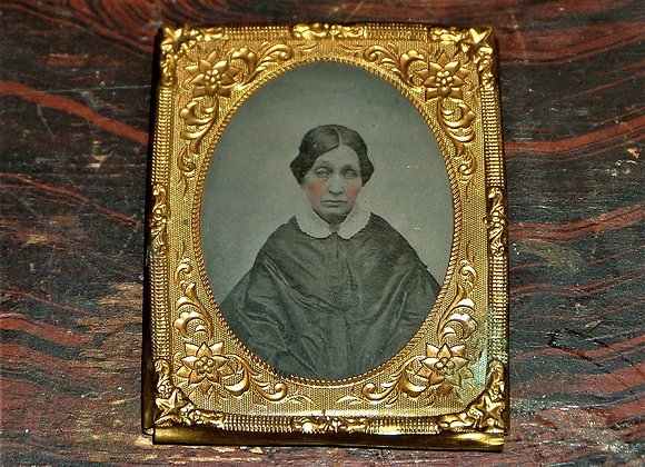 Mid 19th Century Ambrotype of Blind (?) Woman with Interesting Hands