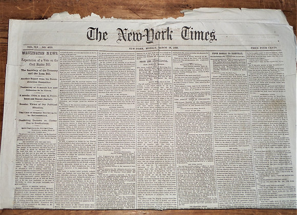 NY Times Expectation of a Veto on the Civil Rights Bill - 3/26/1866
