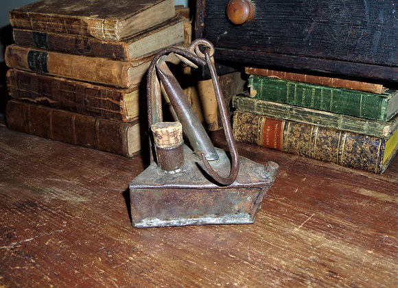 Circa 1800 (or older) Triangular Hanging Whale Oil Lamp