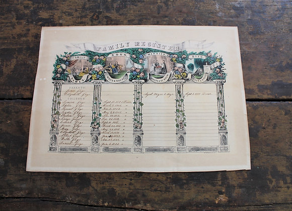1846 Nathaniel Currier FAMILY REGISTER Lithograph