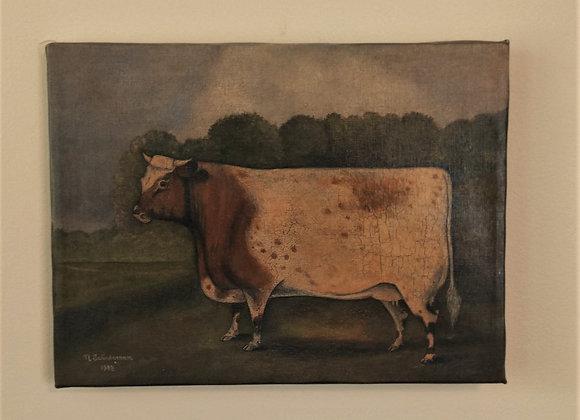 Cow Oil Painting - Vintage Norma Schneeman