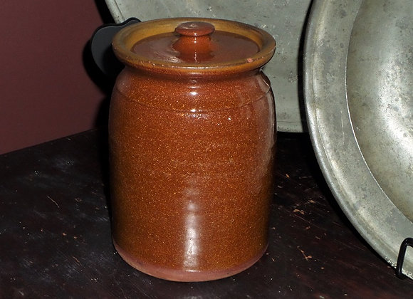 Antique Pennsylvania Redware Jar with Top