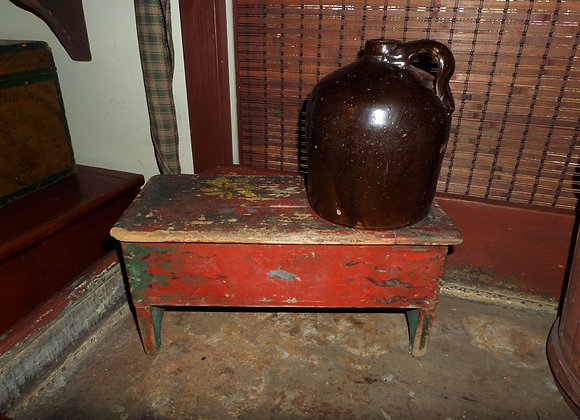 Antique Footstool in Original Red/Green Paint with Painted Designs