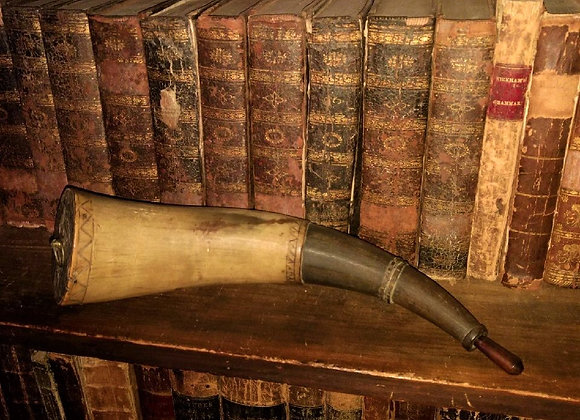 18th Century Scribed and Shaved Powder Horn