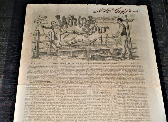 1860 Whip and Spur Newspaper - RARE