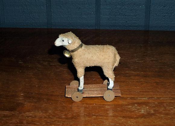 Little Antique German Putz Sheep Pull-Toy