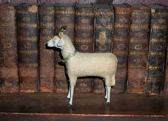 Huge Antique German Putz Ram with Cute 'Tilted Head' and Bell