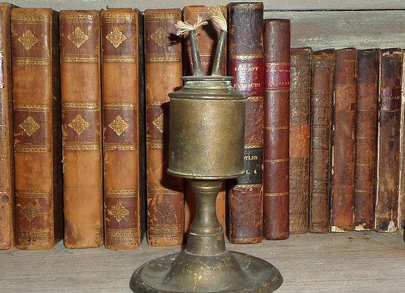 Circa 1840 Pewter Camphene Lamp in Original Gold Paint