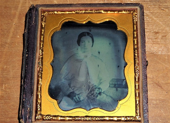 Woman in Black Lace Gloves - Mid 19th Century Ambrotype