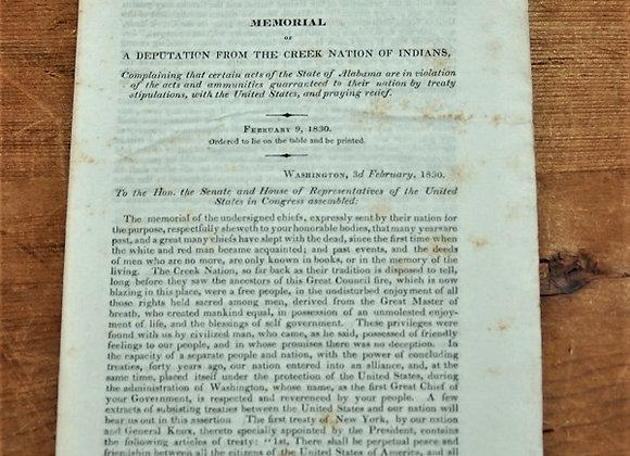 1830 The Creek Nation - Memorial of A Deputation - Alabama - Land Encroachment