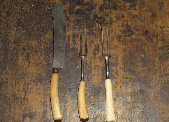 Two Prong Forks and One Knife with Bone Handles