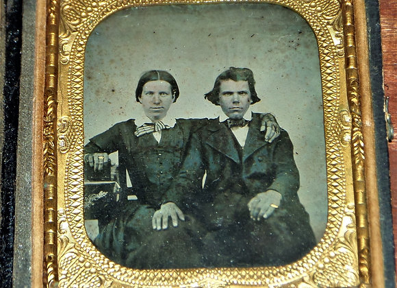 Ambrotype of Interesting Couple Staring Firmly into the Camera