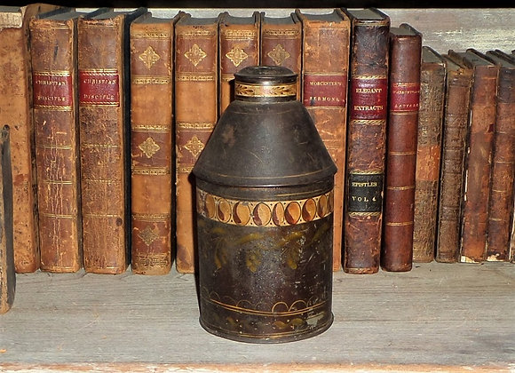 Circa 1840 Highly Decorated Tin Tea Caddy Ready for Use as a Lamp Base