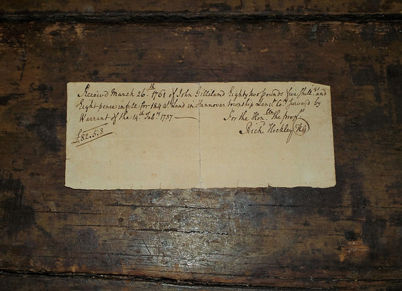 1761 Richard Hockley Signature on Payment Chit