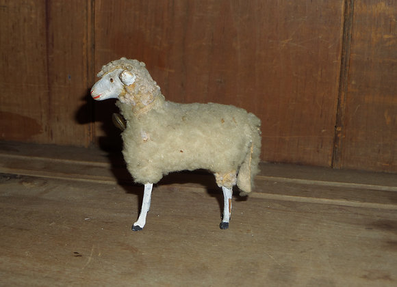 "Antique German Putz 4"" White Ewe with Bell"