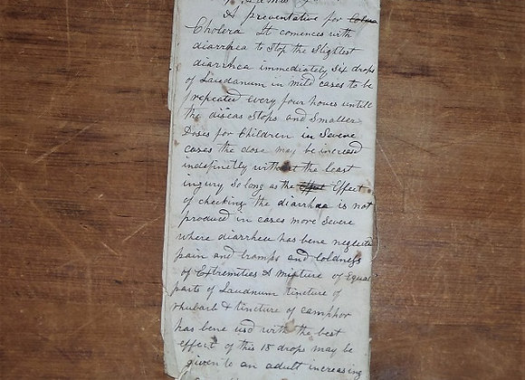 1849 Preventative for Cholera Recipe or Receipt on Back of Shop Records